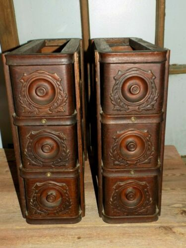 AAFA 6 TreadLe SEWiNG Machine DRAWERS & FRAMES AnTiQue OAK APPLiED CARViNGS Vtg