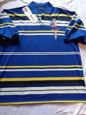 COOGI Australia Multi-colored Rainbow Striped Embroidered Parrot Polo Shirt 4XL