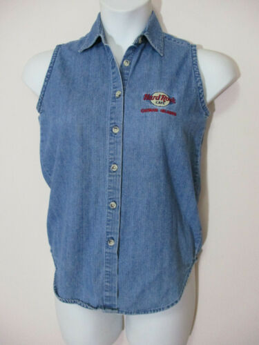 Vintage HARD ROCK Misses S Denim Sleeveless Embroidered Shirt Cayman Islands