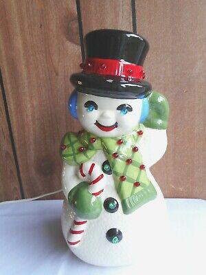 "12.75"" Vintage Christmas Ceramic Frosty Snowman Light Up Bulb Holiday Figurine"