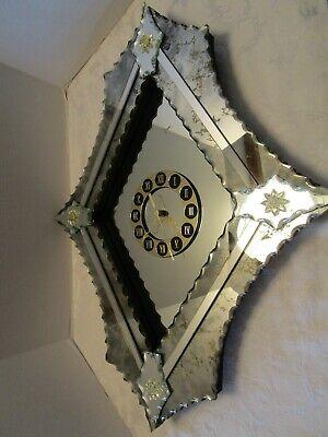 """Venetian Wall Clock Mirror Hollywood Regency serrated beveled cut edges 29""""T"""