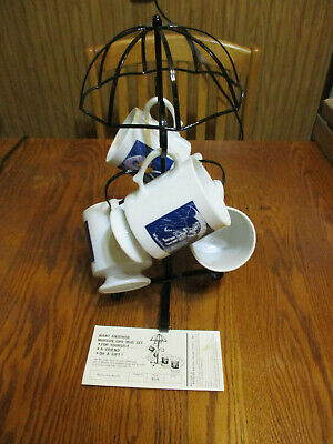 Vintage Mortons Salt Umbrella Tree w/4 Coffee Mugs - From 1973 New Old Stock