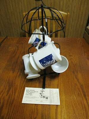 Vintage Mortons Salt Umbrella Tree w/4 Coffee Mugs - From 1973 N O S