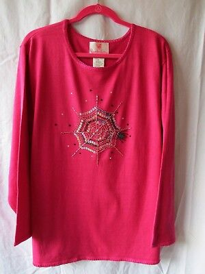 Halloween Spider Web Tunic Sweater 2X (Pink Spider Web Halloween)
