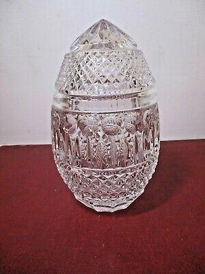 Vintage Cut Crystal Egg Shaped Trinket Or Candy Dish 6.5