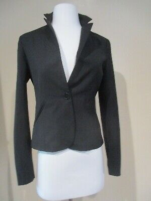 THEORY black wool one button front blazer stretch jacket sz 6  Black Stretch Blazer Jacket