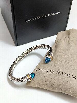 David Yurman Sterling Silver 14K Gold 7mm Blue Topaz Classic Cable Bracelet