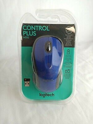 Brand New Logitech Control Plus M510 Blue Wireless Mouse
