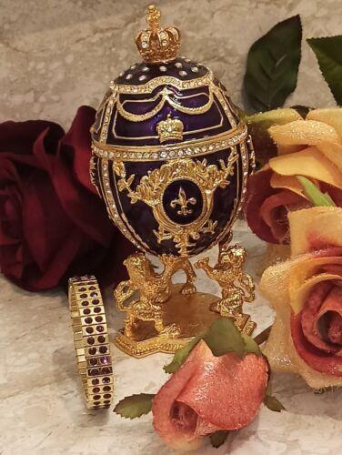 Faberge Egg Fabrege 24k Gold Amethyst Bracelet Swarovski 4ct Trinket Russian Hmd