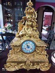 Antique French Louis XVI Victorian Style Gilt Bronze Mantel Clock Porcelain Dial