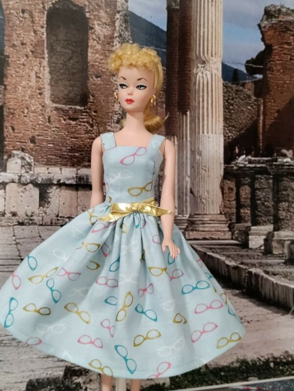 New Vintage style Handmade Sundress for Barbie or Silkstone with  🕶️ fabric