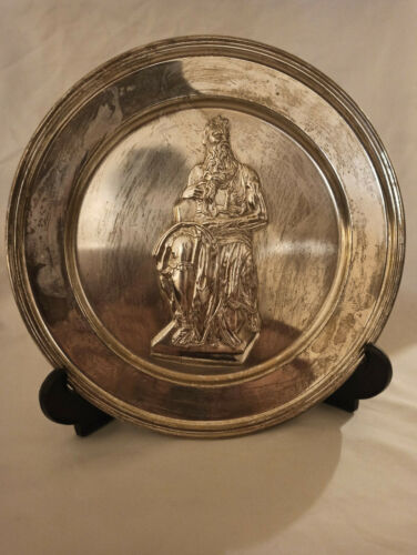 Moses by Michelangelo Plate Sterling Silver #4870 With original papers!!!!!