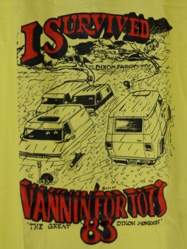 Survived Vannin for Tots Dixon CA Fairgrounds VTG 1983 Monsoon Yellow TShirt USA