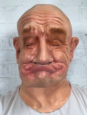 Funny 'Gurning' Old Man Gurn Mask Fat Lip Latex Halloween Fancy Dress - Fat Halloween Man