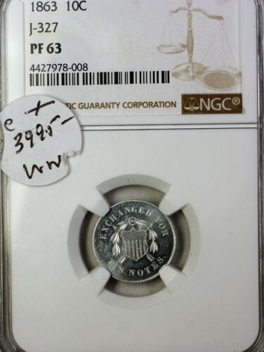 1863 10c Aluminum Shield Dime Us Pattern Proof Coin J-327 Ngc Pf-63 Ww