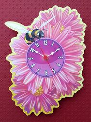 CHILDRENS BUMBLE BEE FLOWER CLOCK HAND MADE WOODEN CLOCK NURSERY WALL CLOCK