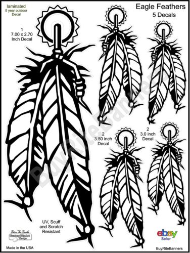 Eagle Feathers Native American Decals, 4 Inch, 5 Count. High Quality