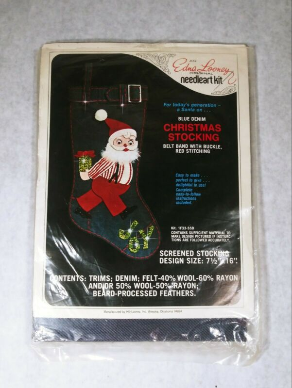 Vintage NOS Edna Looney Denim Jeweled Christmas Stocking Needlework Kit Rare