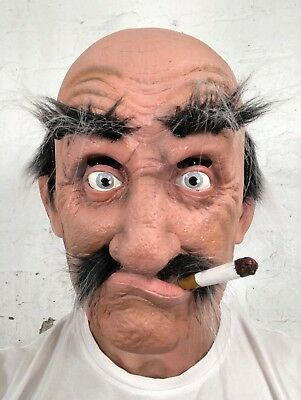 'Smokey Joe' Old Bald Man Mask Latex Halloween Grey Hair Fancy Dress Costume - Bald Old Man
