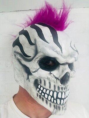 Weiß Totenkopf Maske Lila Mohawk Skelett Halloween Tag der Toten Kostüm (Mohawk Halloween Kostüme)