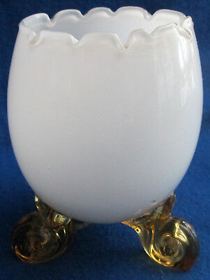 "Small 4 1/2"" High Overlay Glass Bowl With Golden Honey Attached Cabriole Legs for sale  Shipping to Canada"