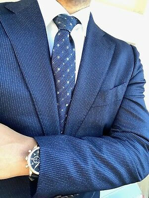NWT Suitsupply LAZIO Blue Pinstripe 100% Wool Suit - Size 40R *Light Flannel*