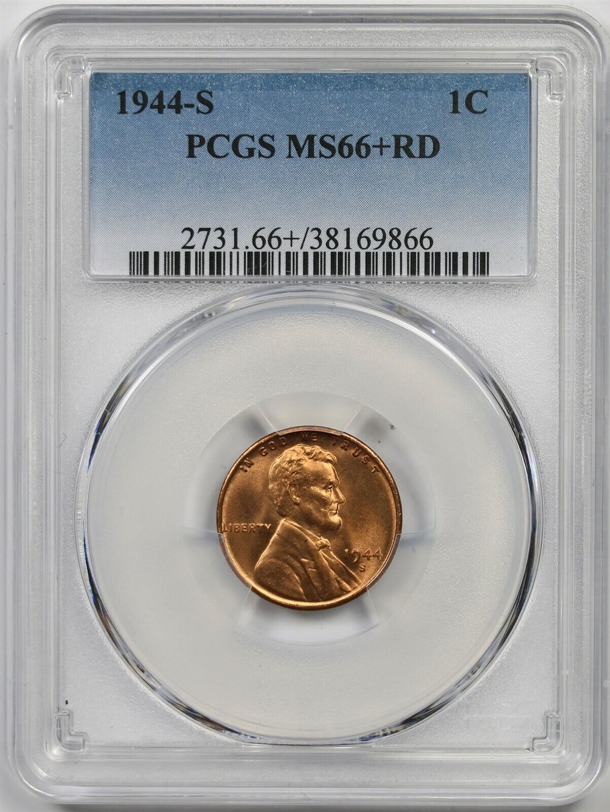 1944-D Lincoln Cent MS66RD PCGS 66 Red Mint State