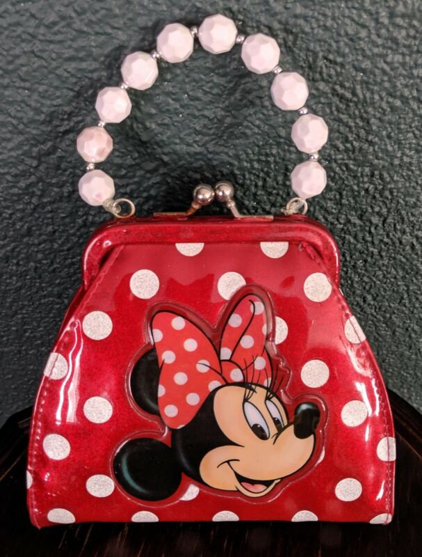 Minnie Mouse Disney Girls Clasp Purse RED Polka Dot Sparkle Glitter Bead Handle
