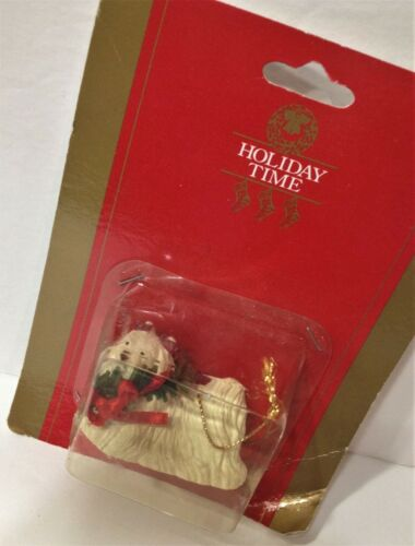 LHASA APSO DOG Ornament NEW Christmas RED BOW Greenery