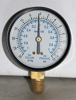 -30 Hg Vac15 Psi 2.5 Dial 14 Npt Pressure Gauge