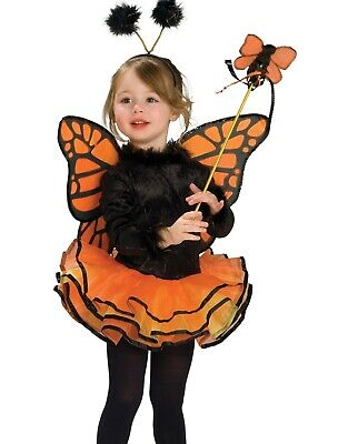 Fly Costume Wings (Orange Butterfly Tutu Costume Dress Monarch Butter Fly Wings Girls Child)