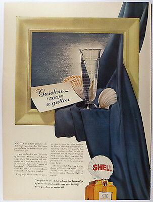Vintage 1942 SHELL GASOLINE - Large Magazine Print Ad - Automobile $500 / gallon