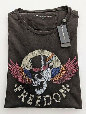 "JOHN VARVATOS  SML Chest Measures 39"" Black Skull Print Crew Neck T-Shirt RRP£89"