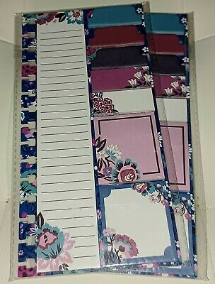 Lot Of 2 Vera Bradley Planner Sticky Notes Bloom Berry Stick Pads Flowers Nwt