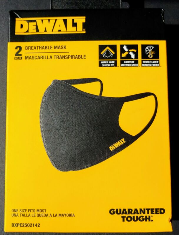 OFFICIAL - DeWALT Tools 2-Pack Face Masks - DXPE2502142 - SAME DAY SHIPPING