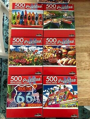 Lot of (5)  Puzzlebug 500 Piece Jigsaw Puzzles - Random