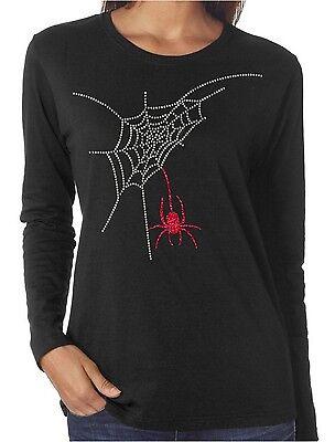 Spider Web Rhinestone and Glitter Women's Long Sleeve Shirts Halloween - Womens Rhinestone Halloween Shirts