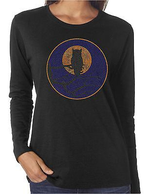 Halloween Shirts Womens (Moon Owl Rhinestone Women's Long Sleeve Shirts)