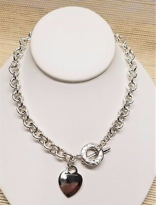 (Tiffany And Co. Sterling Silver Heart Toggle Link Necklace 16