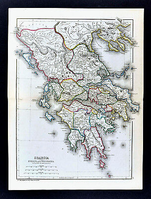 1871 Classical Map Ancient Greece Athens Corinth Sparta Delphi Olympia Thessaly