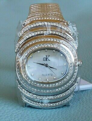 Adee Kaye  Austrian Crystals Mother-of-Pearl Oval Dial Bracelet Watch 38mm (Austrian Crystals Mother Of Pearl)