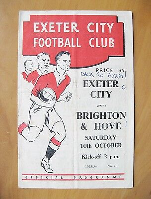 EXETER CITY v BRIGHTON 1953/1954 *Fair Condition Football Programme*