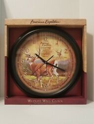 American Expedition Wildlife Whitetail Deer Buck 16 inch Wall Clock