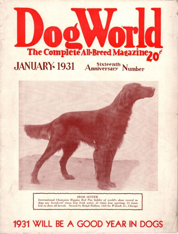 Vintage Dog World Magazine January 1931 Irish Setter Cover