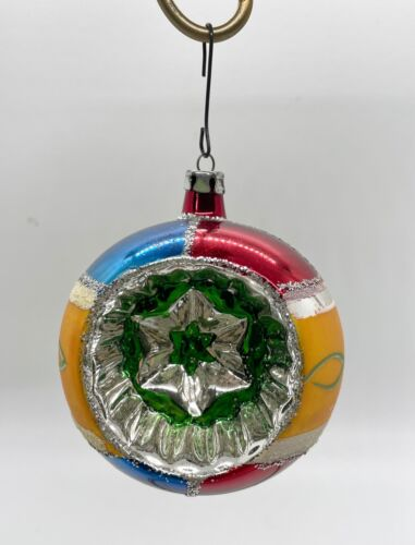Vintage Shiny Bright Indent Christmas Ornament Blue Red Green & Gold