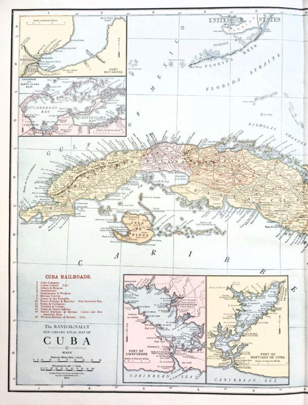 1913 Cuba Map Havana Santiago De Cuba Port Matanzas Railroads Guantanamo RARE