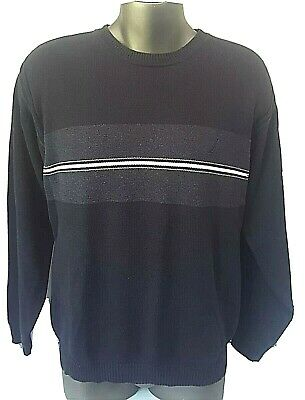 Nautica Mens Large Blue Sweater Pullover 100% Cotton