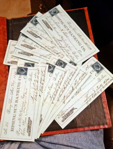 RISING SUN MARYLAND ~ NICE LOT OF 15 CHECKS 1879-1880 ~  ALL WITH REVENUE STAMPS