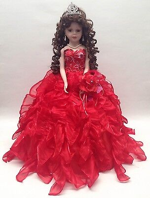 NEW Red 20 in 15 XV Anos Quinceanera Ruffle Dress Porcelain Umbrella Doll Muneca