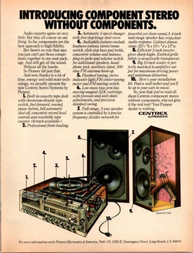 1978 Vintage Print Ad Pioneer Stereo Components Centrex